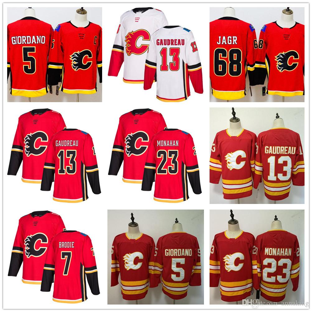new style 2c54f 2ff23 2019 New Cheap Mens Youth Red Calgary Flames 13 Johnny Gaudreau Jersey 23  Sean Monahan Jaromir Jagr 5 Mark Giordano Hocekey Jerseys