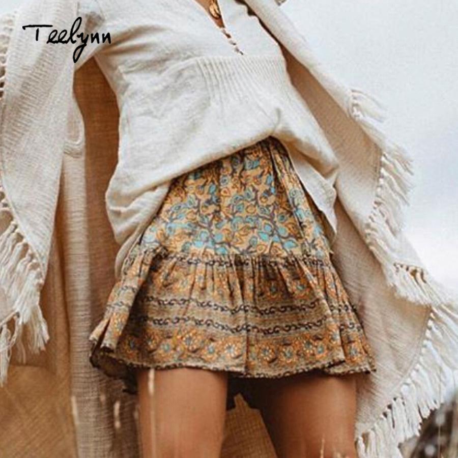 e38bbbc7aeb7d Teelynn Mini Boho Skirt 2018 Autumn Vinatge Golden Rayon Floral Print  A-line Skirts Hippie Bohemia Beach Wear Short Women Skirt Y19043002