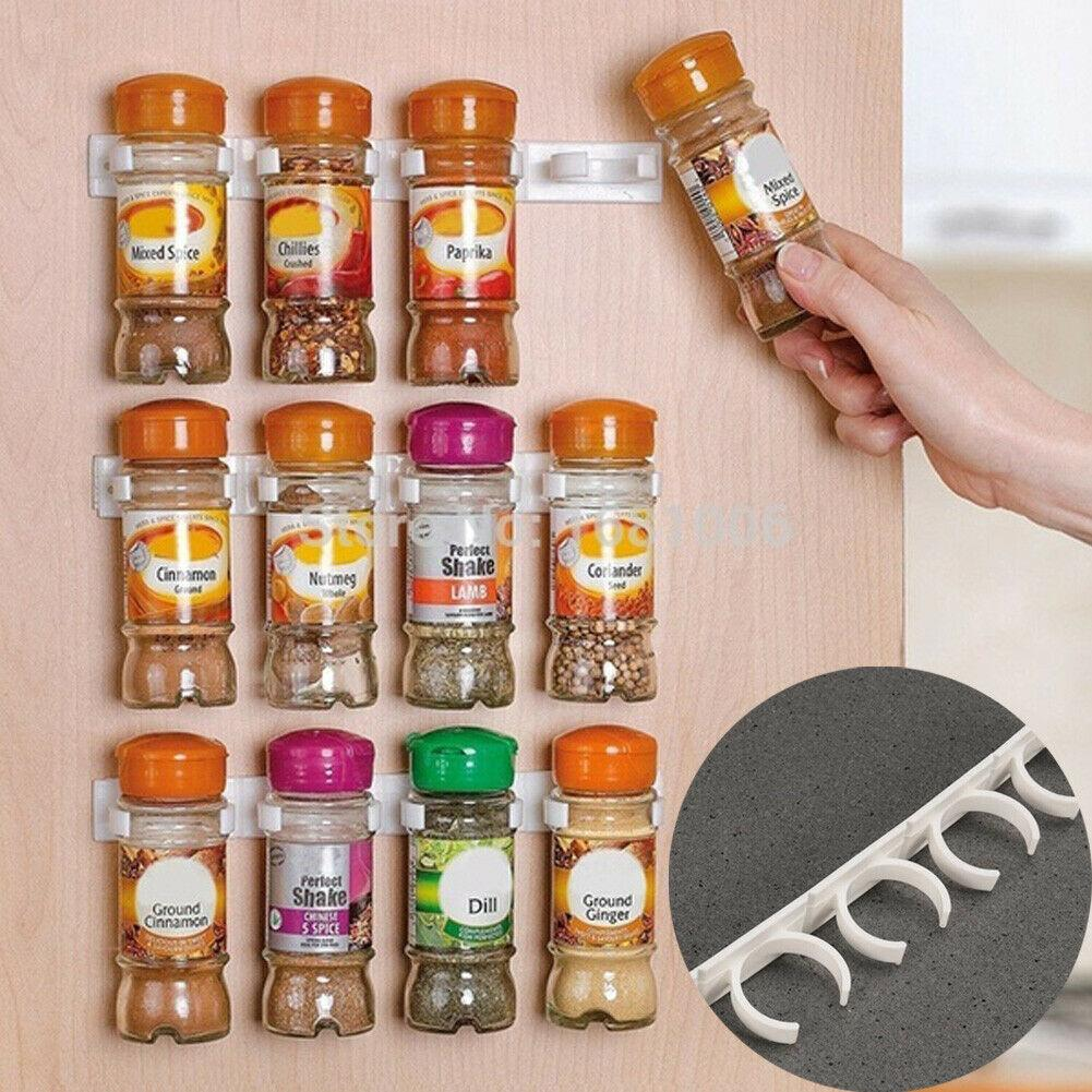 20 Clip Kitchen Spice Gripper Strip Jar Rack Storage Holder Wall Cabinet Door UK