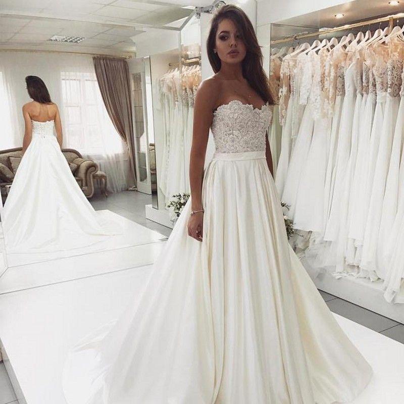 Lace Neckline Wedding Dress
