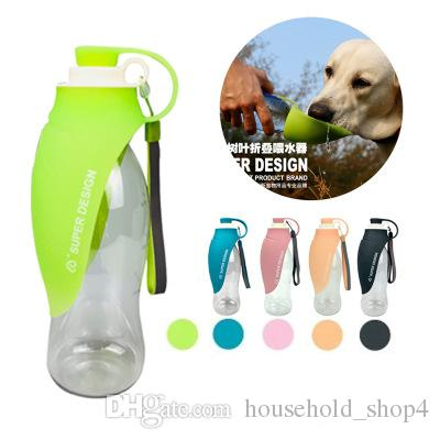 Portable Dog Water Bowl >> 580ml Portable Dog Bowl Silicone Leaf Design Pet Dog Water Bottle Soft Travel For Puppy Cat Drinking Feeders Outdoor Pet Water Dispense