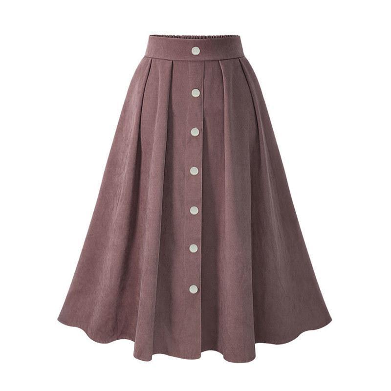 db0bb7caf1 Compre Mujeres Faldas Plisadas Botón De Cintura Alta Elástica Mediados Falda  Estilo Coreano Faldas Femeninas Moda 2019 Primavera Otoño Invierno Parte ...