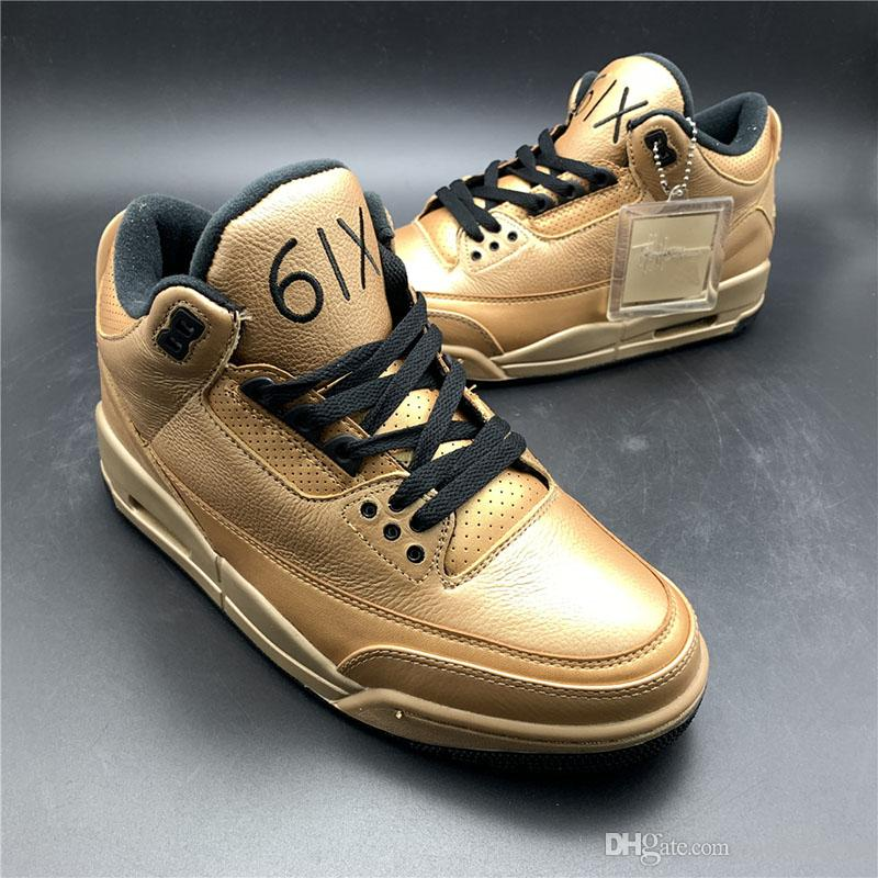a94eb1bcf007 TOP 6IX 3s Basketball Shoes Bronze Gold Mens New Designer Fashion Upper  Leather Outdoor Trainer Sports Sneaker Size 7 12 Tennis Shoes Shoes Sale  From ...
