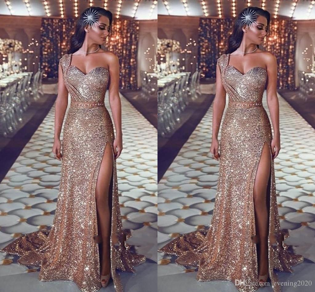 1bdb3aafa2 Gorgeous One Shoulder Sequins Evening Gowns 2019 Mermaid Prom Dress With Slit  Glamorous Sweet Design Ball Gown Sweet Long Evening Gowns Long Sleeved  Evening ...