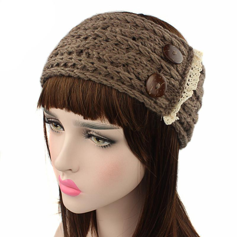 Women Ear hair belt hairbands crochet knitted Wool Wooden clasp lace headbands head wrap bands ribbon Hair accessories