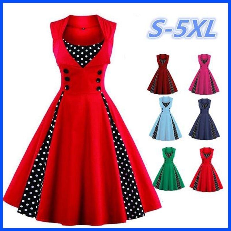 09e23d723 Compre Moda Feminina Robe Pin Up Vestido Retro 2019 Vintage 50 S 60 S  Rockabilly Dot Swing Verão Feminino Vestidos S 5XL De Hot_summer, $13.22 |  Pt.Dhgate.