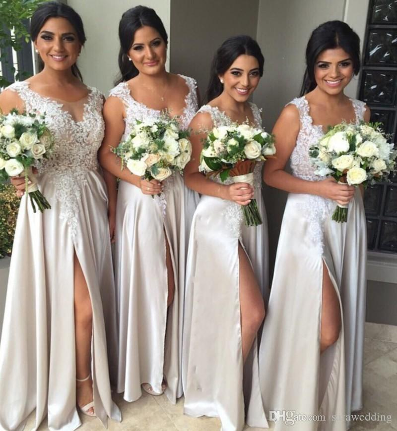 Sheer Neck Long Bridesmaid Dresses with Lace Appliques 2019 Split Prom Dress Zipper Back Formal Gowns