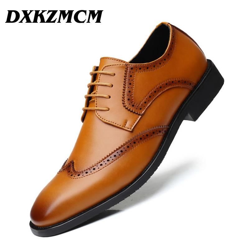 e99c338302a3b DXKZMCM Leather Brogue Mens Flats Shoes Casual Handmade Men Oxfords Formal Dress  Shoes For Men Mens Boots Shoe From Gospurs