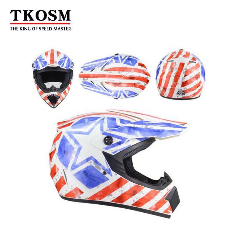 TKOSM Motorcycle Adult Motocross Off Road Helmet ATV Dirt Bike Downhill MTB  DH Racing Helmet Cross Helmet Capacetes DOT Motor