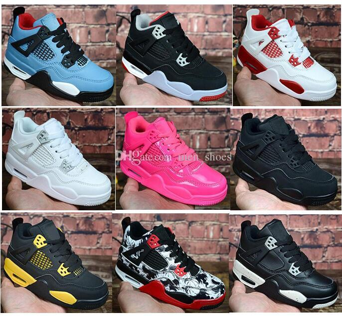 Kids 4 Bred Cactus Jack Pure Money Basketball Shoes 4s Children Boy Girls Pink White Alternate 89 Black Cat Sneakers Toddlers Birthday Gift