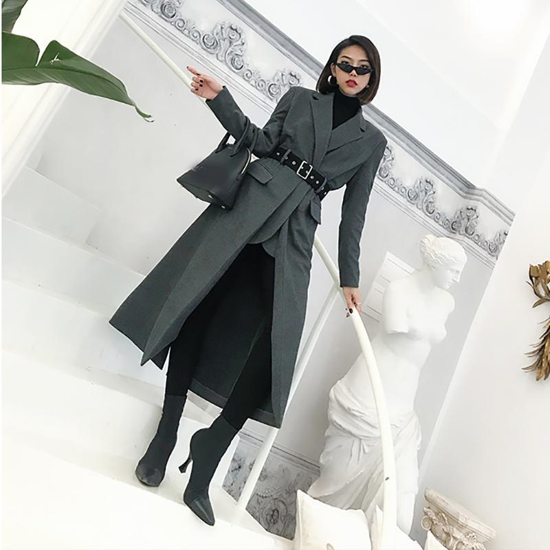 fed96c542b LANMREM 2018 New Arrival Notched Long Type Woolen Coat With Belt ...