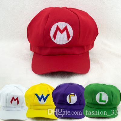 757d407e0 Super Mario Bros Anime Cosplay Red Cap Tag Super cotton hat Super mario  hats Luigi hat 5 colors Free shipping YD0204