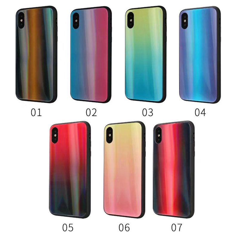 new styles 8b746 97b5f Gehärtetem glas bunte spiegel schutzhülle telefon zurück case für iphone xs  max xr 6 7 8 plus x hybrid rüstung tpu pc case