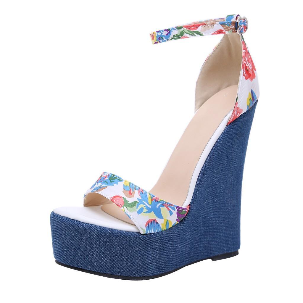 Pour Été Femmes Imprimer Sandale Chaussures De Toe Denim Romaines Talons Compensées Mujer Sandales Plate Forme Zapatos Peep Hauts IH29DE