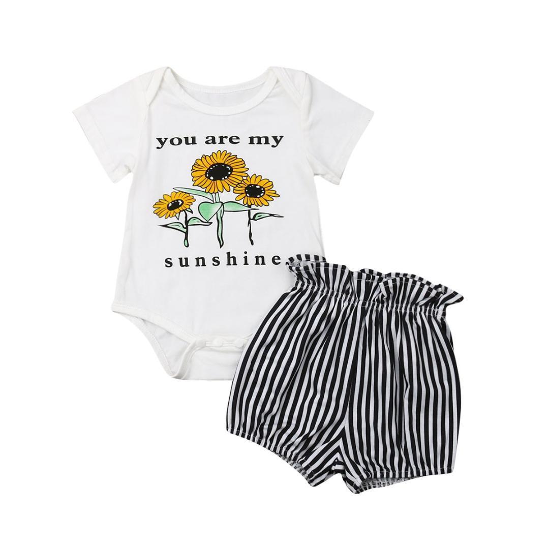 d01530c90 2019 Infant Kids Baby Girl Short Sleeve Sunflower Bodysuit Tops ...