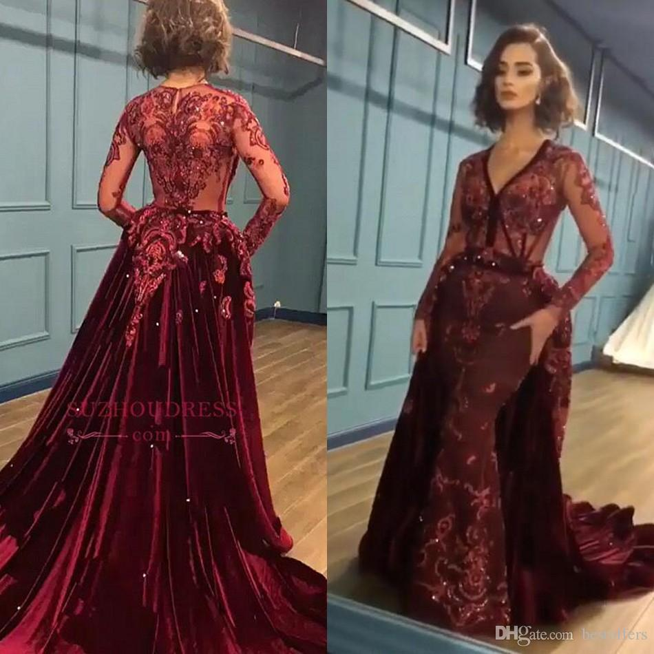 2019 New Arrival Evening Dresses Red V Neck Long Sleeves Sheer Lace  Appliques Sequins Mermaid Prom Gowns Formal Custom Made Vestidos BC0731 Evening  Dresses ... fdc6be956835