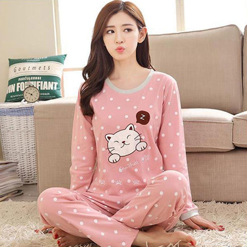 Women s Pajamas Polka Dot Cartoon Printed Milk Silk Homewear Two Piece Set  Spring Fashion Casual Plus Size Female Clothing Pajama Sets Cheap Pajama  Sets ... bb7738840