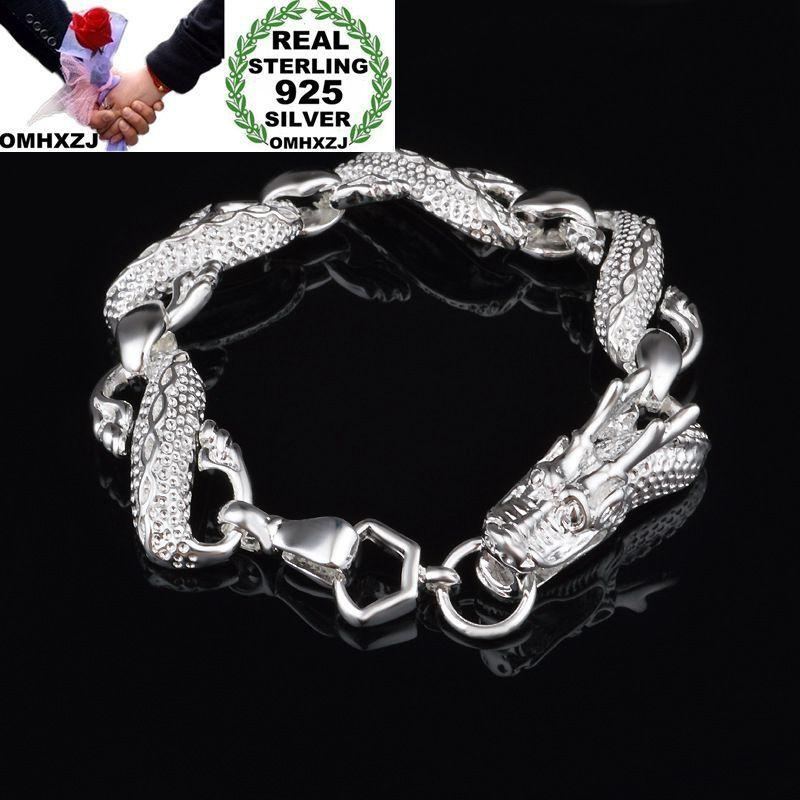 OMHXZJ Wholesale Personality Fashion OL Woman Girl Party Wedding Gift Silver Dragon Chain 925 Sterling Silver Bracelet BR56