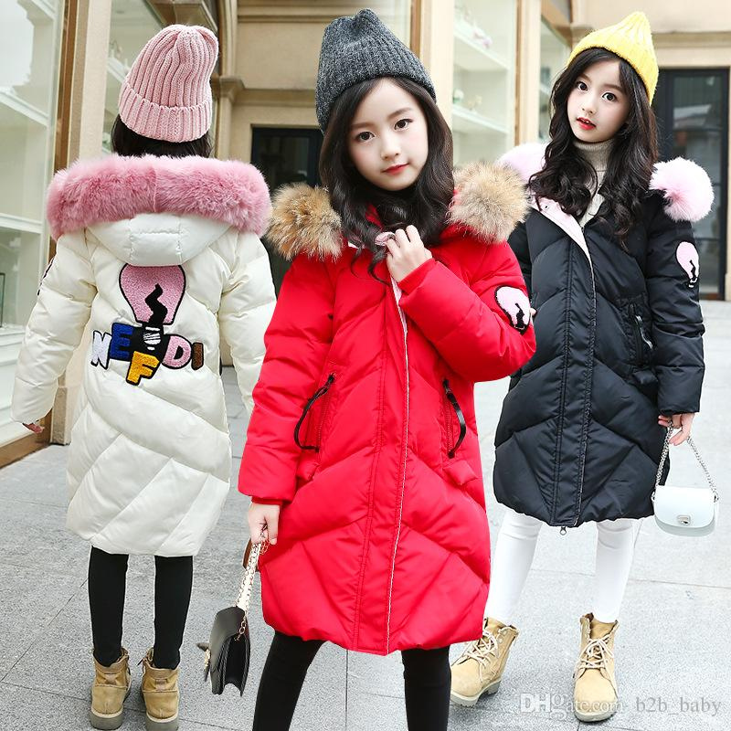 102651198 Girls Winter Cotton-Padded Coat Kids Thick Warm Hooded Jackets Kid Fashion  Letter Print Winter Coats AAA1544