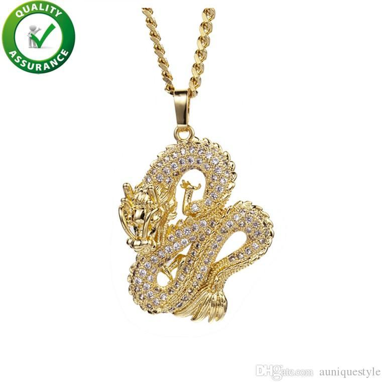 Iced Out Pendant Hip Hop Jewelry Designer Necklace Chinese Dragon Mens Gold Chain Pendants Luxury Fashion Bling Diamond Pandora Style Charms