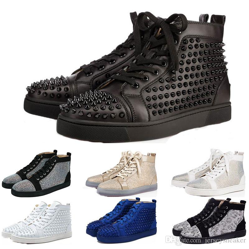 72f178341ff9 Acheter 2019 Designer Marque Cloutés Chaussures À Crampons Chaussures Bas  Rouge Chaussures De Luxe Hommes Femmes Amateurs De Fête Baskets En Cuir  Véritable ...