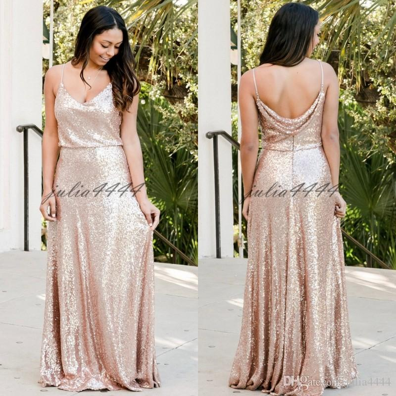 2019 Blush Pink Sequined Bridesmaid Dresses New Spaghetti Maid of Honor Gown Elegant A-Line Wedding Guest Dress