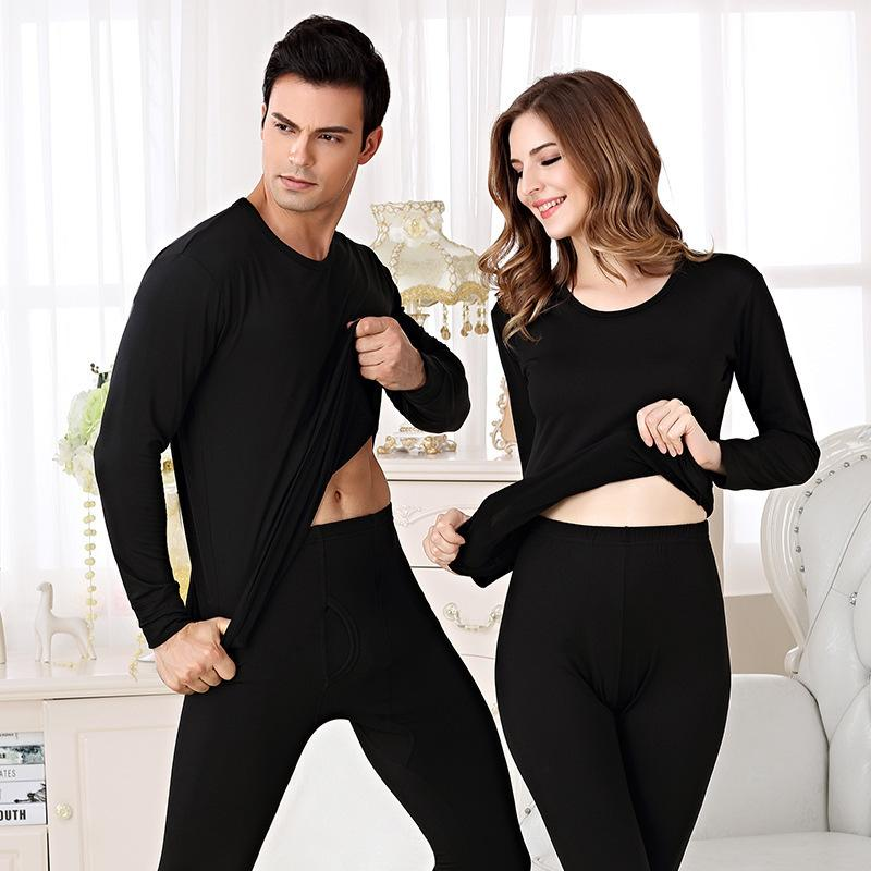 Winter Elastic Milk Silk Thermal Underwear Set Male Female Soft Second Skin Warm Clothing For Couple Home Wear Underwear Suits