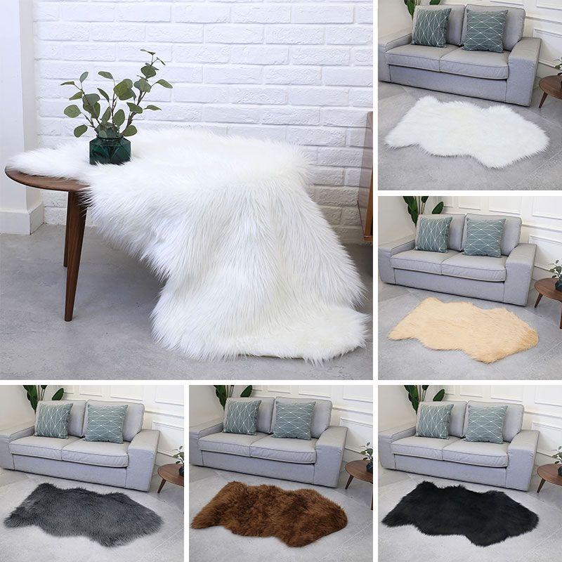 Fluffy Rugs Wool Living Room Luxurious Wool Carpet Irregular Shape Mat Warm  Carpet Floor Drop Shipping