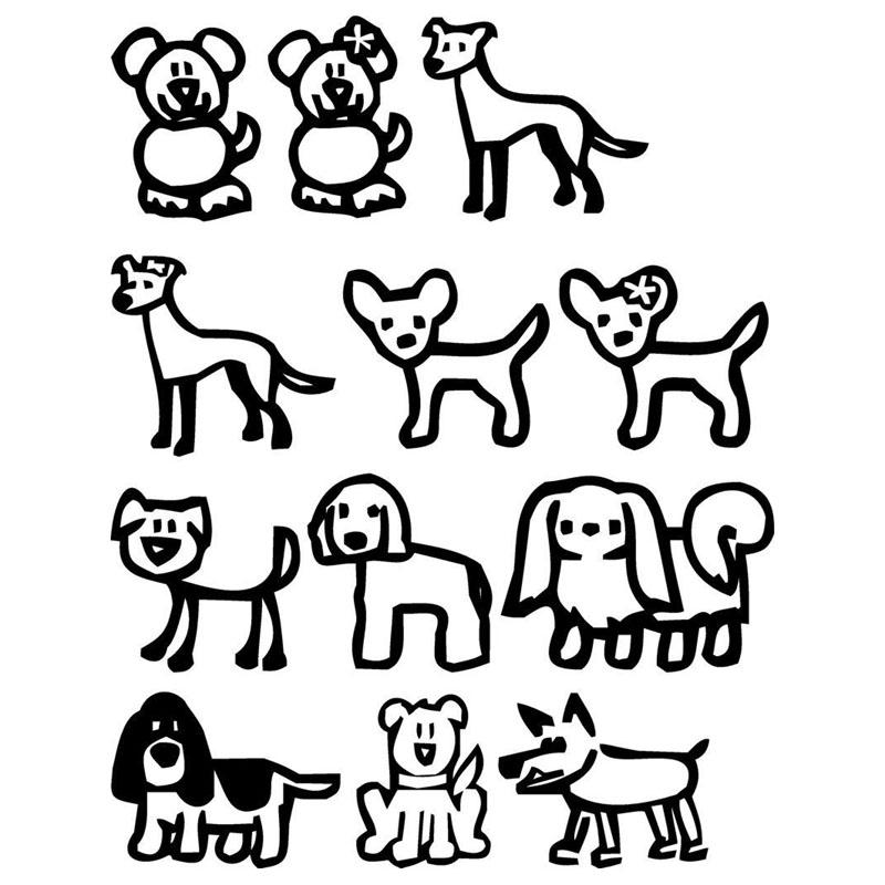 12 Stick Family Dogs Cartoon Vinyl Decal Fashion Classic Window Decorative Car Stickers Black/Sliver C6-1528