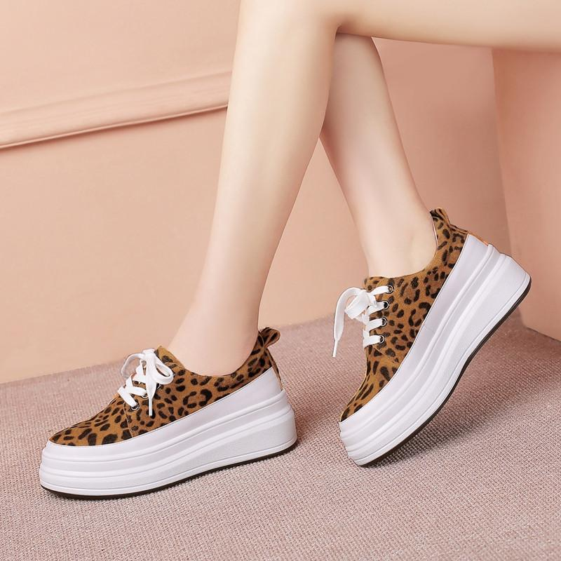 YMECHIC Autunno 2019 Mucca pelle scamosciata Leopardo giallo Donna Flats Creepers Platform Shoes Lace Up Calzature Donna Flat Creeper Shoes 42