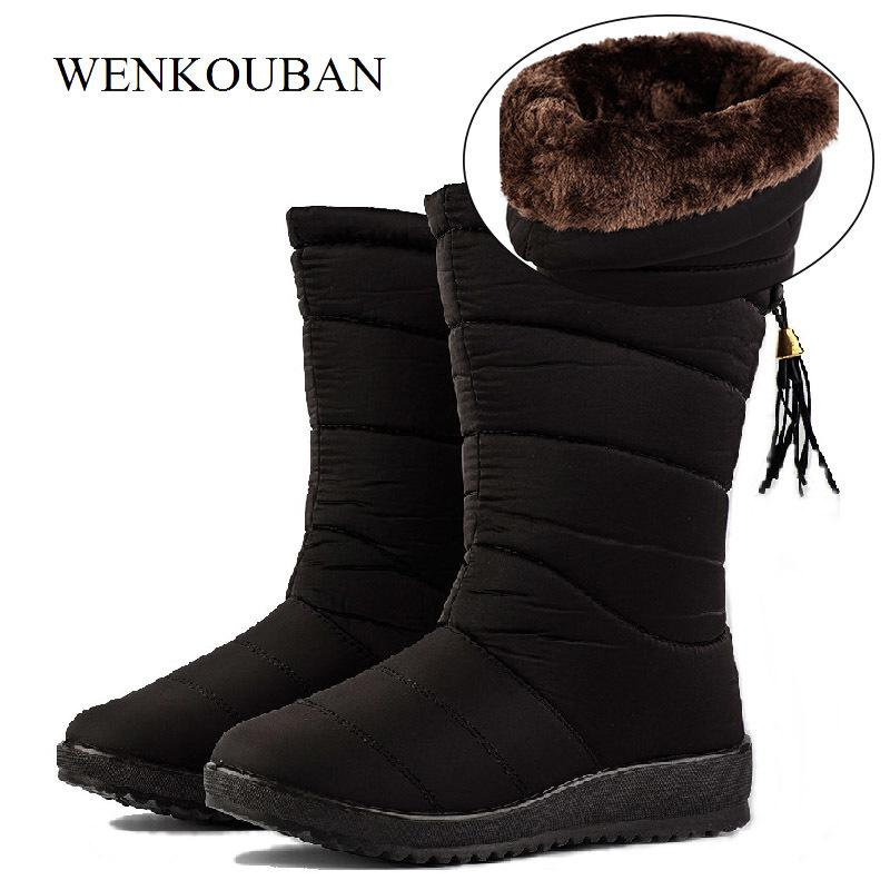 964241e5f62a 2019 Waterproof Winter Boots Female Mid Calf Down Boots Women Causal Shoes  Ladies Snow Bootie Wedge Rubber Plush Insole Botas Mujer Brown Ankle Boots  Fly ...