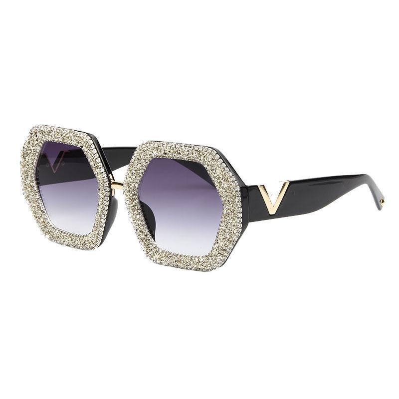 Geometric Patterns Rhinestone Oversized Sunglasses Women Fashion Shades Eyewear