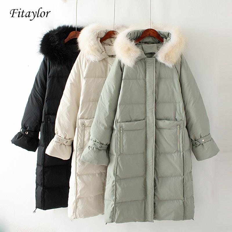 Fitaylor 2019 New Winter Long Down Coat Women White Duck Down Parkas Large Real Raccoon Fur Collar Hooded Jackets Overcoat