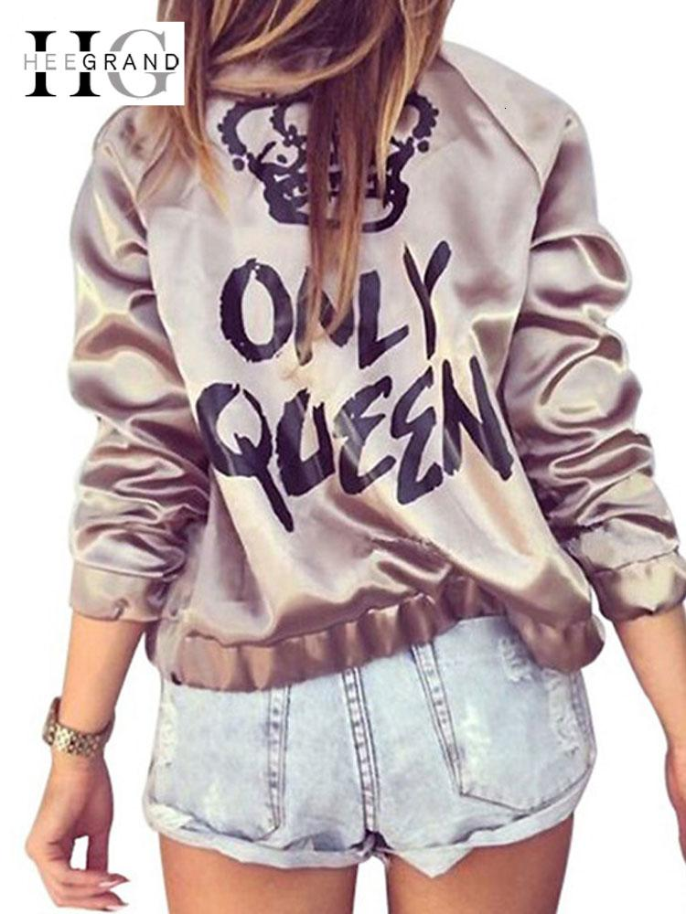 HEE GRAND Women Fashion Basic Jacke Satin Gold Silber Bomber Mäntel Herbst ONLY QUEEN Crown Letter Print Oberbekleidung WWJ889 T190919