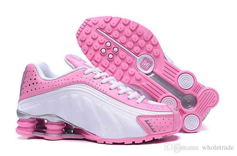 best cheap 8ed90 cafa8 Free Shipping Womens Shox R4 Triple Black Pink White Shoes Grils Shox R4  Black Metallic Silver Max Orange Sneaker Size 5.5-8.5