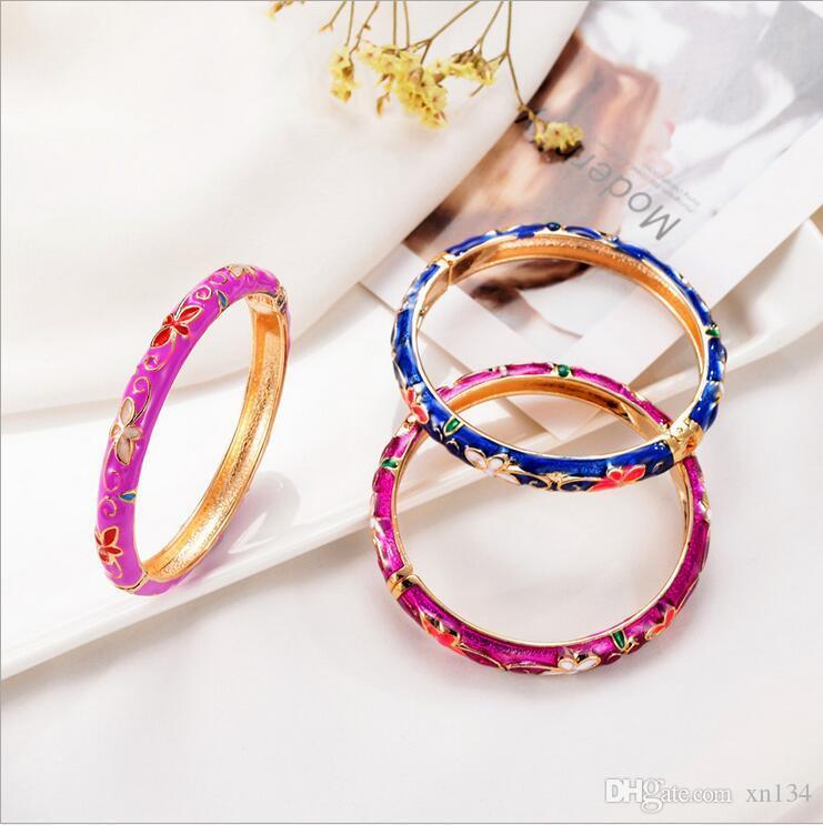 b7bdd9c5d33a Compre Cloisonne Bangle Jewelry National Wind Lady Jewelry Primavera Viva  Estilo Chino Creativo A  26.38 Del Xn134