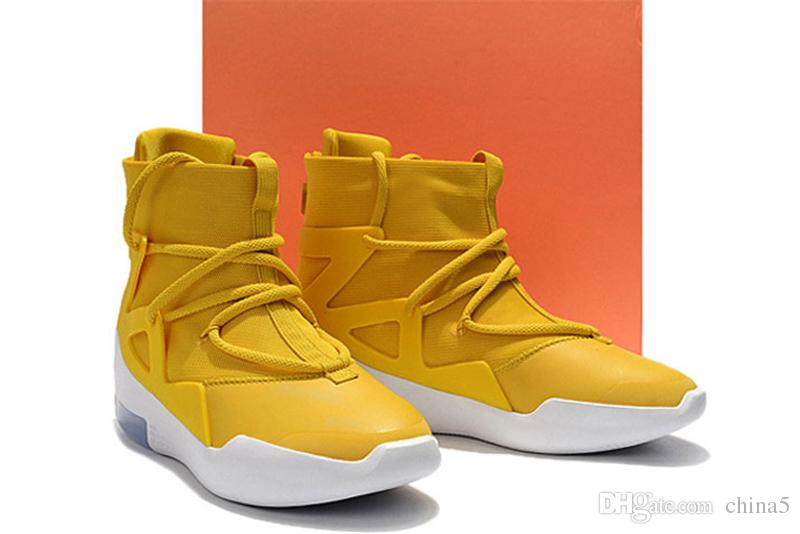 2019 Release Originals Air Fear of God 1 Amarillo FOG Yellow Man Basketball Shoes Authentic Sports Sneakers Air Zoom With Box AR4237-700