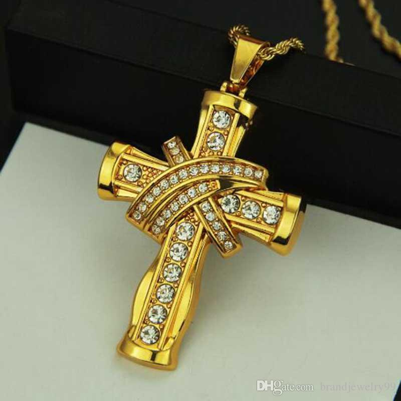 Retro Fashion Crystal Cross Pendant Necklaces 14k Gold Hiphop Sweater Chain Women Men Clothing Accessories Jewelry