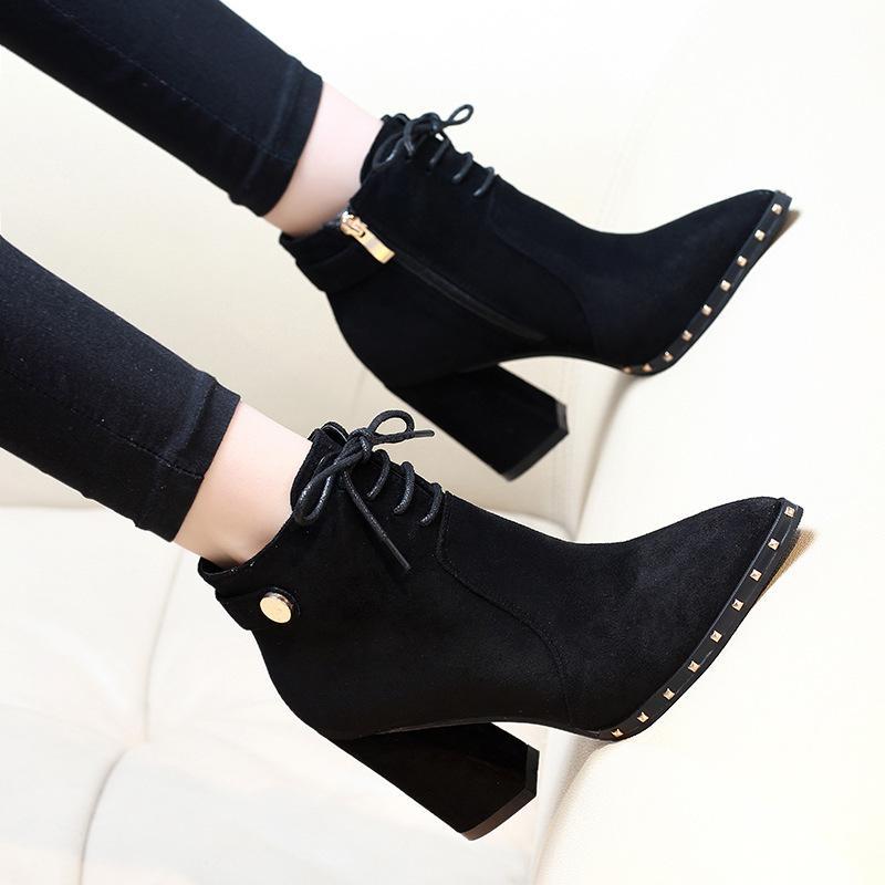 9bb0d0a2b Compre 2019 Outono Botas Lado Zipper Rebanho Grosso Botas De Salto Alto  Lace Up Mulher Sapatos De Escritório Senhoras Tornozelo De Conglan, ...