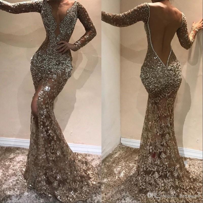 Vintage Sparkly Crystal Prom Evening Dress 2019 Long Sleeve Deep V neck Formal Party Gown Sexy Slit Pageant Gowns