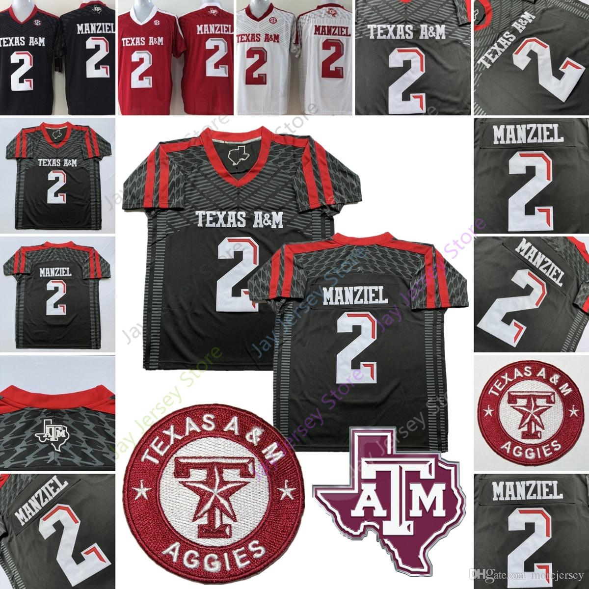 classic fit 324b1 8e68d Johnny Manziel College Jersey NCAA Texas A&M Aggies Football Jerseys Home  Away Black Red White Men Size S M L XL 2XL 3XL