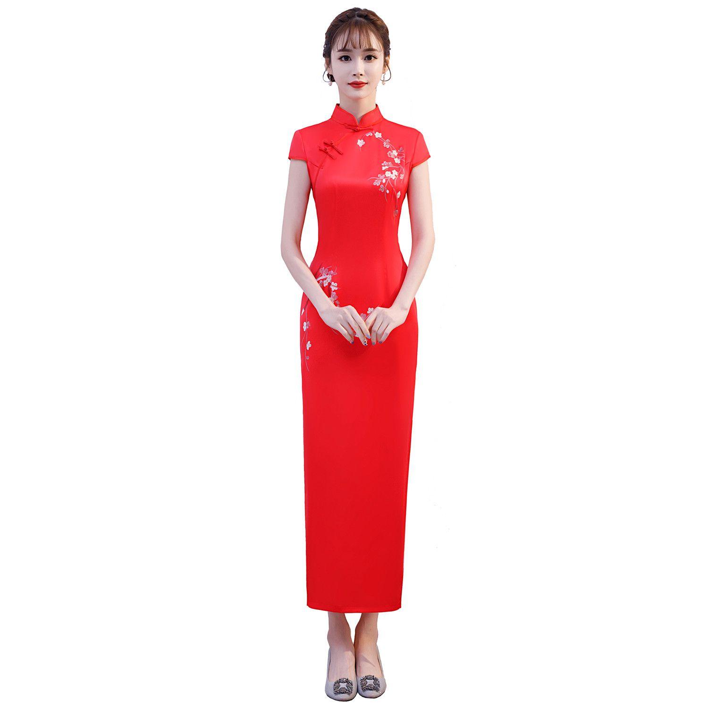 9310d7392ea8af Shanghai Story Nouvelle Arrivée Robe Chinoise Orientale Floral Qipao Long  Cheongsam Chinois Pour Femme 3 couleurs