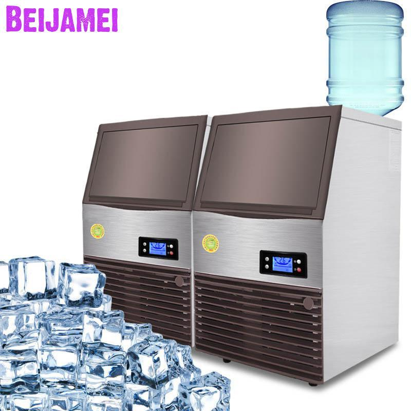 BEIJAMEI Commercial Ice Maker Machine 96kg/24h High Capacity 220V Square Ice Cube Making for Bubble Tea Shop Catering
