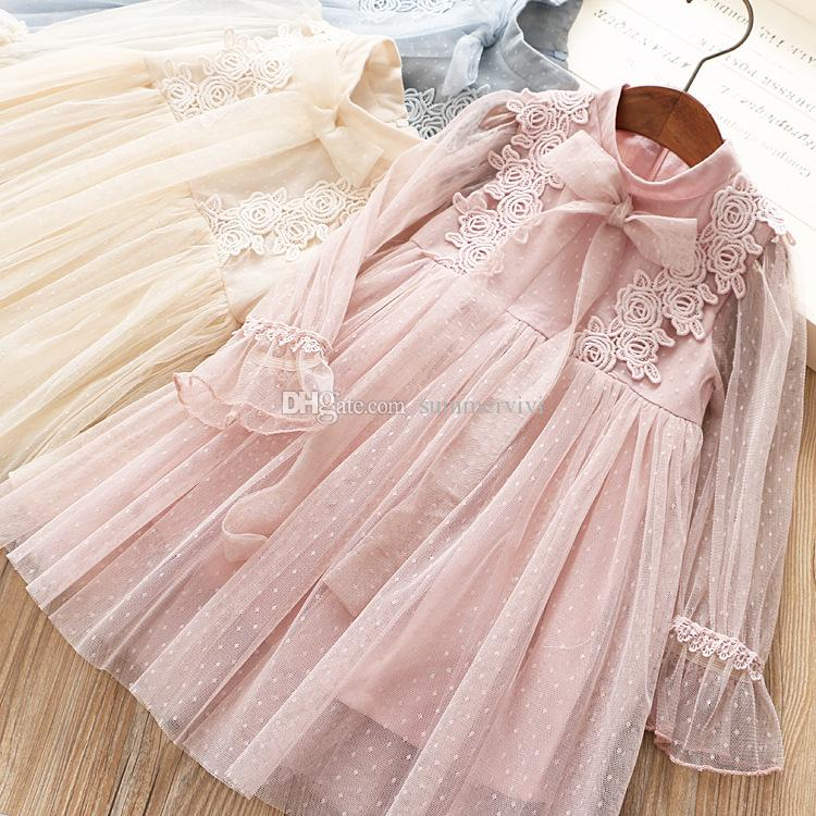 c9ff427ba Spring girls lace flowers embroidery dress kids lace-up Bows tie falbala  sleeve princess dress children polka dots lace tulle dress F3532