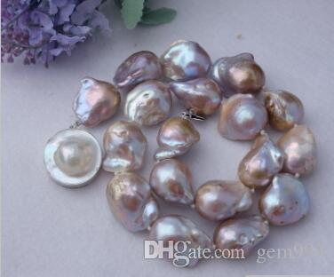 necklace Free shipping ++ 20x23mm purple Nucleated Flameball pearl Necklace -mabe clasp NEW