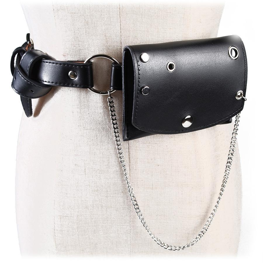 10b45219154 Waist Pack Women PU Leather Waist Bag Fanny Pack Steam Punk Belt Bag Female  Rivet Chain Hip Bum Girls Leg Chest Belly Pouch