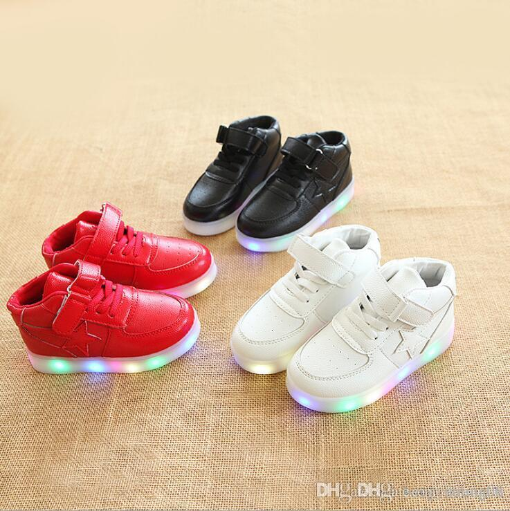 NEW Fashion Childrens Luminous Shoes Stars Print Girls Flat Shoes Luminous Non-slip Wear-resistant Childrens Shoes Best quality 898