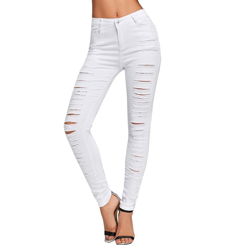 6c9a637941 2019 White Jeans High Waist Pants Elastic Slim Thin White Feet Pants  Fashion New Korean Female Pants Fashion Women Trousers Street From  Janisa18, ...