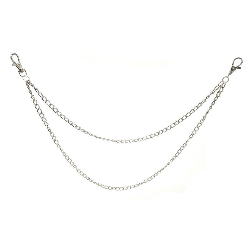 Two Strands Metal Wallet Chain Silver 2 Layer Keychain Rock Punk Portachiavi Hook Biker Trousers Pant Waist Link Belt Key Chain