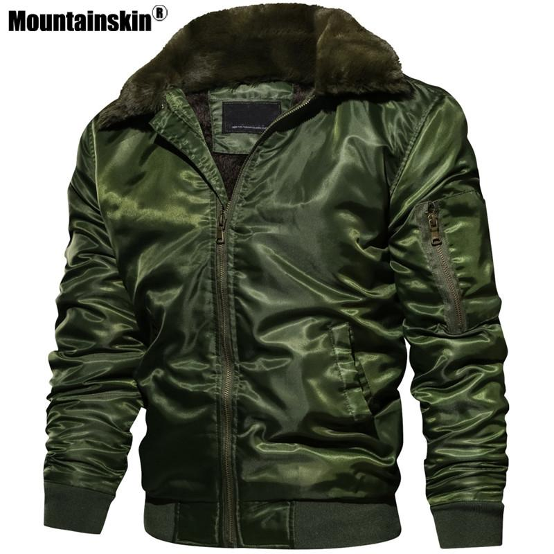 Mountainskin New Men's Jackets Winter Thick Motorcycle Coats Male Pilot Bomber Jacket Fleece Warm Mens Brand Clothing SA555